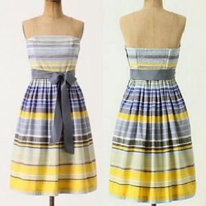 Anthro Maeve Paraiso Stripe Strapless Dress Tie Bo